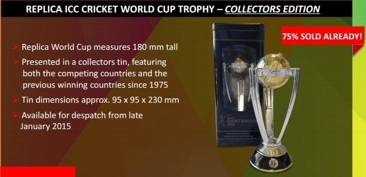 Picture of 2015 Replica ICC Cricket World Cup Trophy – Collector's Edition